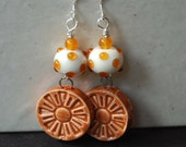 Orange Earrings, Flower Earrings, Lampwork Bead Earrings, Glass Beaded Earrings,