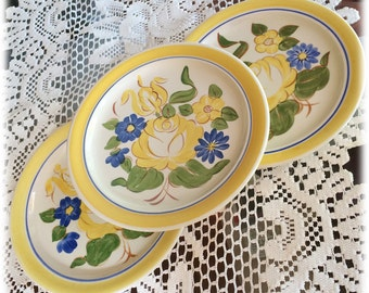 3 Red Wing China BRITTANY SALAD PLATES, Yellow Rose Blue Flowers Handpainted, Cottage Chic