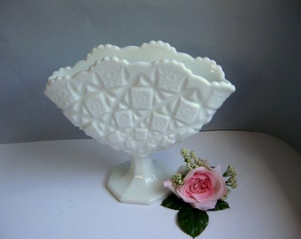 Vintage milk glass fan vase Pressed glass white vase