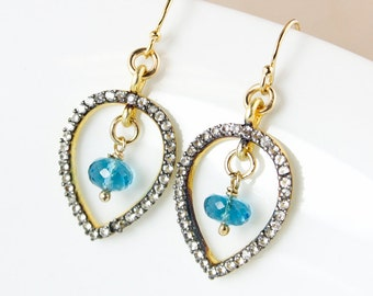 London Blue Topaz Dangle Earrings – White Topaz – Pave Setting