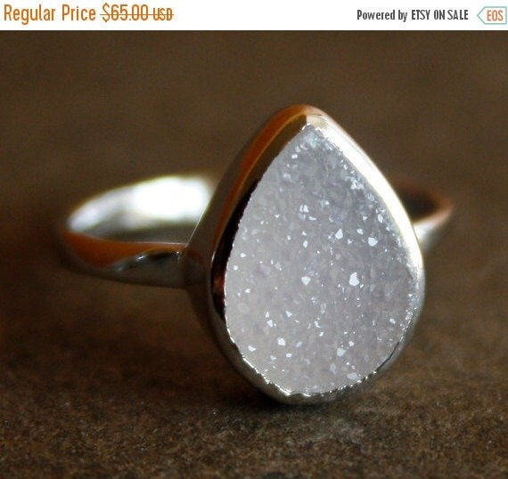 Silver White Agate Druzy Ring - Teardrop - Sterling, Stacking Ring