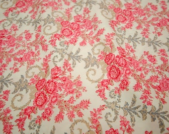 """Quilt Knitting Half Yard Cotton 18x44"""" Vintage French Floral Red Rose Oriental in Cream"""