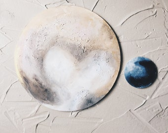 hand painted pluto and charon moon