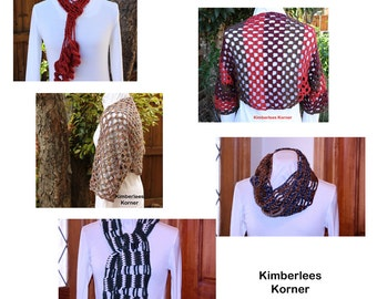 Crochet Patterns, Crochet Cowl, Scarf and Shrug Pattern, Crochet Shrug Pattern, Easy to Crochet Designs, Crocheted Scarf Pattern
