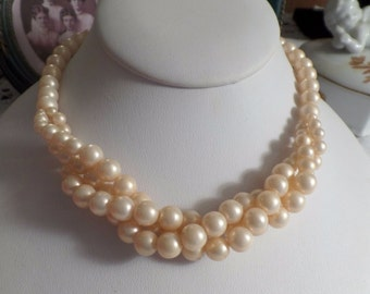CLEARANCE Vintage Faux Pearl Twisted Multi Strand Necklace Choker Wedding Jewelry