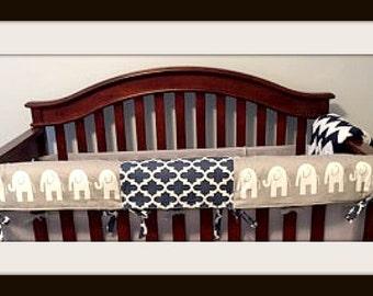 Custom Rail Covers, Bumperless Crib Bedding, Boy Rail Covers for Bumperless Cribs, Elephant rail covers for baby crib