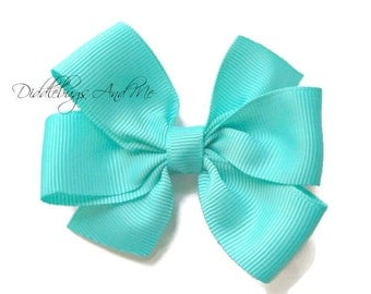 Light Turquoise Pinwheel Bow, Turquoise Hair Bow, Girls Grape Hair Bow, Back To School Bows, Hair Bows For Girls, Everyday Hair Bows,