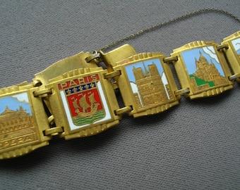 French Paris Souvenir Bracelet Art Deco Brass Cloisonné Free Shipping To The Usa And Canada
