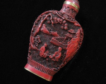 Chinese Perfume Bottle, Carved Cinnabar or Red Resin, Signed