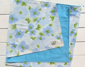 Reversible Baby Blanket Light Cornflower Blue Flannel with Vintage Blue Floral Sheet