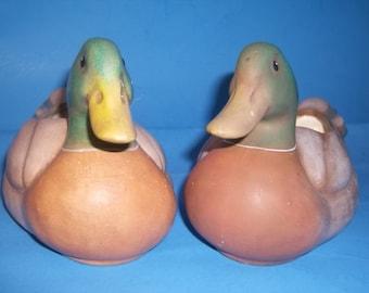 Vintage Mallard Ducks Hand Painted Planters