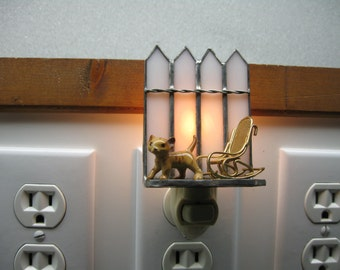 Stained glass nightlight with tabby kitten and metal rocking chair