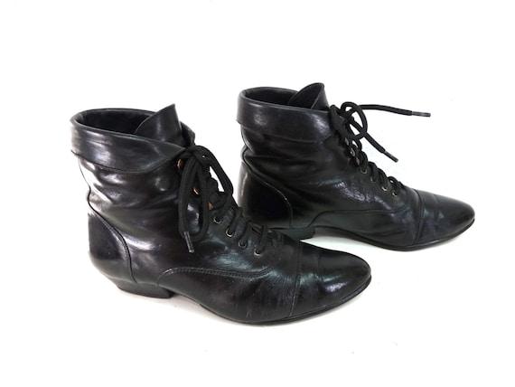 Vintage Ankle Boots Black Leather Kiltie Lace up Oxford Womens