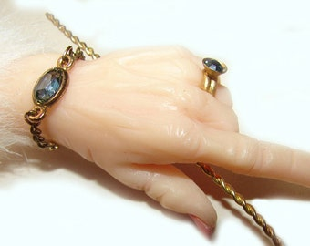 Steampunk Fantasy Fairy Hand Holding a Magical Wand Fully Jeweled Retro Brooch Pin