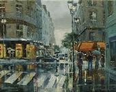 16 x 12 inches Dusan Original Oil Painting Canvas Art City Rain