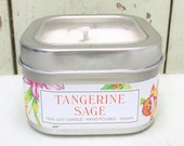 Tangy Tangerine Sage Soy Candle 8 oz. - Green Daffodil Soy Candleworks - Handpoured - Siouxsan and Anne -C8