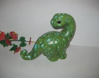 Vintage Green Ceramic Dinosaur Planter
