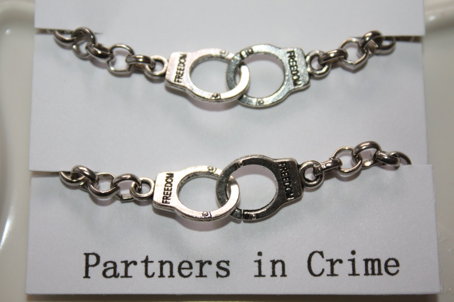 partners in crime handcuff bracelet best friend jewelry