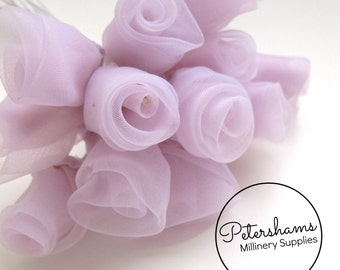 12 Organza Roses for Millinery, Fascinators - Light Purple