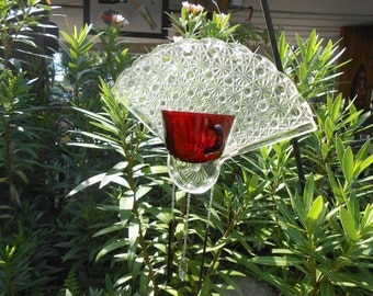 Ruby Red Depression Glass Suncatcher, Recycled Handmade Wind Chime, Vintage Daisy and Button Tea Set with Crystal Heart and Glass Chimes