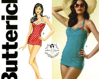 50s Swimsuit Pattern M L XL 14 16 18 20 22 36- 44 bust 1950s Swim Suit Butterick 6067 Repro Bombshell One Piece Marilyn Shelf Bust