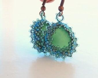 Mermaid Tears  -  Organic Genuine Amalfi Sea Glass earrings - green