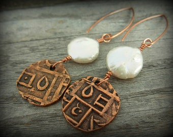 Freshwater Pearl Earrings with Abstract Copper Charms #1098