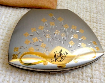 """MOTHER.  Sterling Silver Elgin American Compact.  Monogramed """"Mother"""".  Exquisite.  Vintage"""