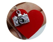 Camera Necklace, Pendant, 35mm Camera, photography, photograph, red heart, Love, Hand made jewelry, Stocking Stuffer, Photograper Gift