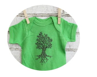 Cotton Baby Onepiece, Tree Bodysuit, Apple Green, Infant Creeper, Baby Shower Gift