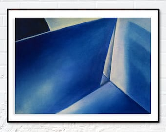 Original Pastel Drawing, Blue Geometric Shapes and Light Reflections, Rives BFK Paper, 19''x15''