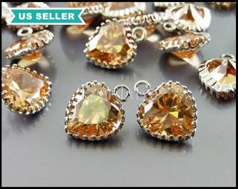 2 peach blush champagne CZ heart charms, cute heart cubic zirconia necklace pendant, peach heart crystals 1827R-CH