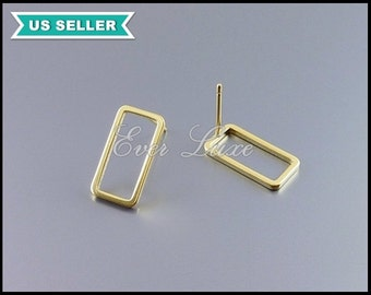 4 matte gold bar rectangle earrings, gold rectangle stud earrings, geometric rectangle earrings, minimalist jewelry 1999-MG-15