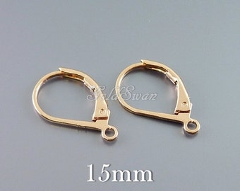 10 shiny rose gold lever back earrings with ring, high quality rose gold earrings, leverback earrings, brass earwires B126-BRG