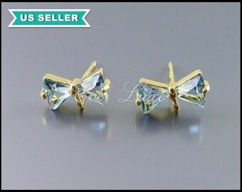 2 beautiful blue sapphire glass & gold stud earrings, studs, ribbon earrings / bow earrings, jewelry supply 5065G-BS