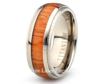 Titanium Wooden Ring Mens Women's Wedding Band Domed  Custom His Hers Anniversary rings