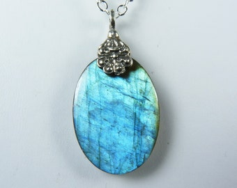 Labradorite Necklace, Luminous Labradorite Pendant with Glowing Iridescent Sky Blue and Aqua Flash, Sterling Silver