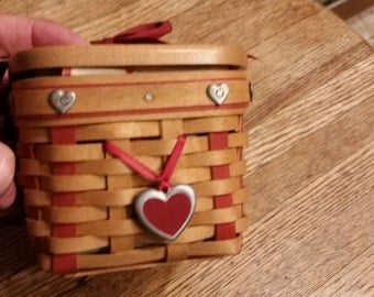 Gorg Longaberger Valentines 5 pc Bskt Set w Heart Rivets--New Cond