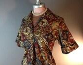 50s shirt vintage 1950s MEDIEVAL PERSIAN NOVELTY print men horses batik deer cotton top shirt blouse