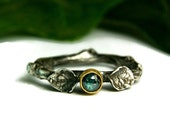 Blue Diamond Engagment Ring, Twig Wedding Ring, Rustic Style Jewelry, Two Tone Gold & Silver Ring