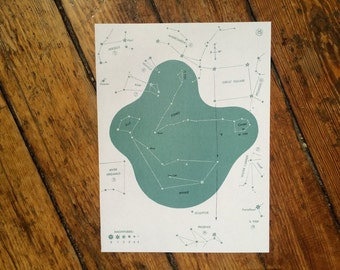1966 CONSTELLATION STAR MAP original vintage celestial print - no. 15