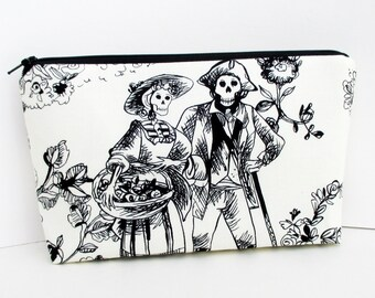Make Up Zipper Pouch. The Romantics, Day of the Dead Skeleton Couple, Skull Cosmetic Bag