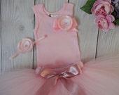 Blush Pink Birthday Tutu Dress, Baby Girls 1st Birthday Outfit