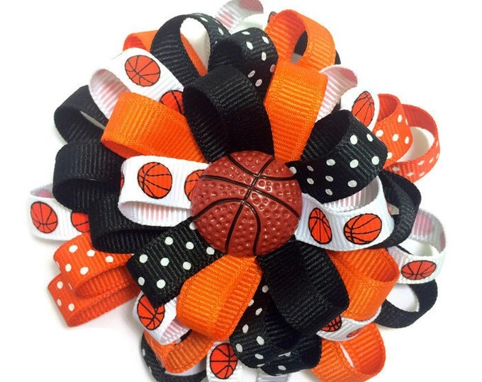 Black & Orange Basketball Hair Bow, Sports Hair Bow
