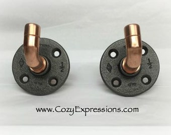 Urban Industrial Robe Hook | Towel Hook | Bathroom Hook | Copper Hook | Industrial Decor | Wall Hook | Coat Hook