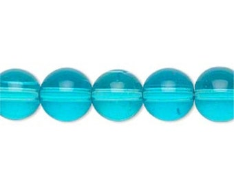 10mm Aqua Beads, Aqua Blue Beads, 10 mm Beads, Turquoise Glass Beads, Round Smooth 20 pcs