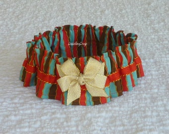 "Dog Bandana, Dog Scrunchie Collar: Wavy Stripe with dark orange and gold trim + gold bow - Size L - 16"" to 18"" neck - TrY Me PriCe"