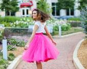 Hot Pink Fuschia Tulle Skirts for Adults - Custom Waist Tutu - Custom Size - Matte Satin Waistband