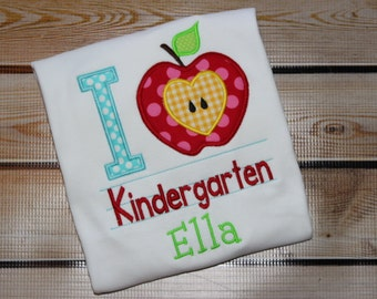 Personalized I Love Kindergarten Shirt with Apple