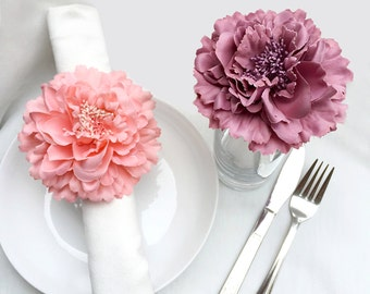 10 Pieces Set. 4.2inch Coral And Dusty Pink Artificial Peonies Floral Napkin Rings. Coral Flower Napkin Holders. Bridal Shower Wedding Table